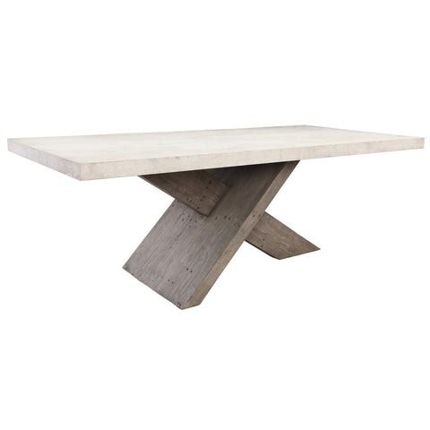 lightweight concrete dining table with reclaimed pine base