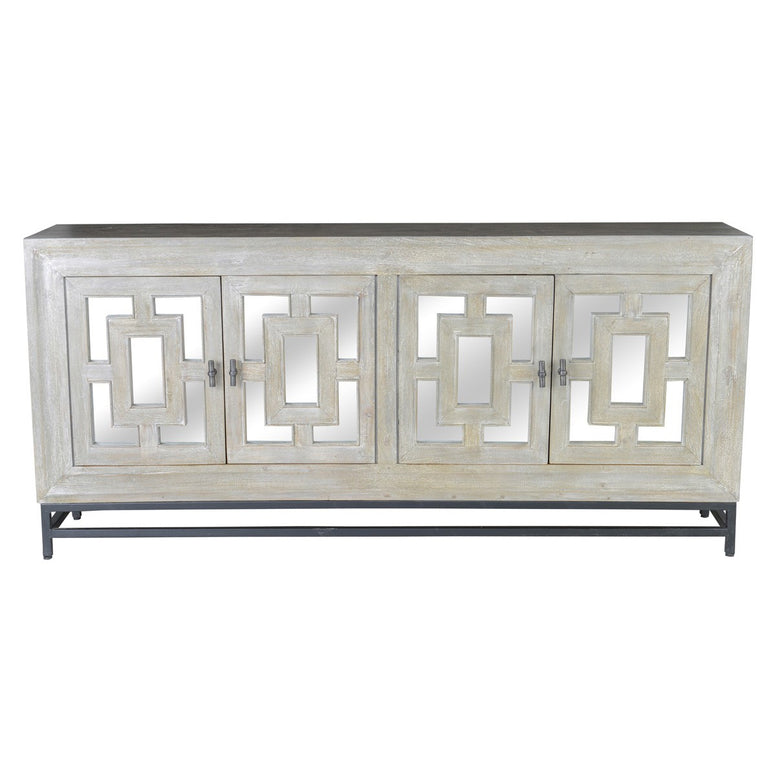 Grey Wood Sideboard with mirrored accents - Hamptons Furniture, Gifts, Modern & Traditional