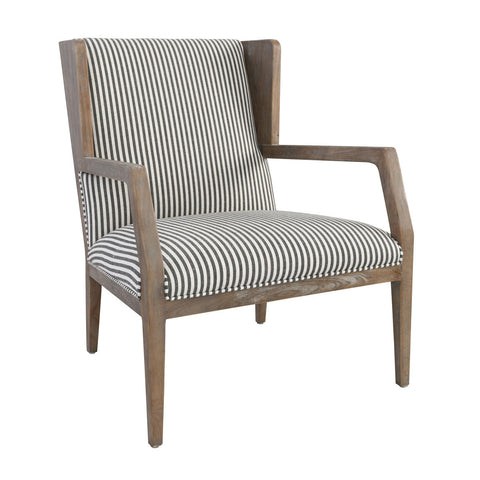 Accent Chair in Striped Fabric and Wood Frame