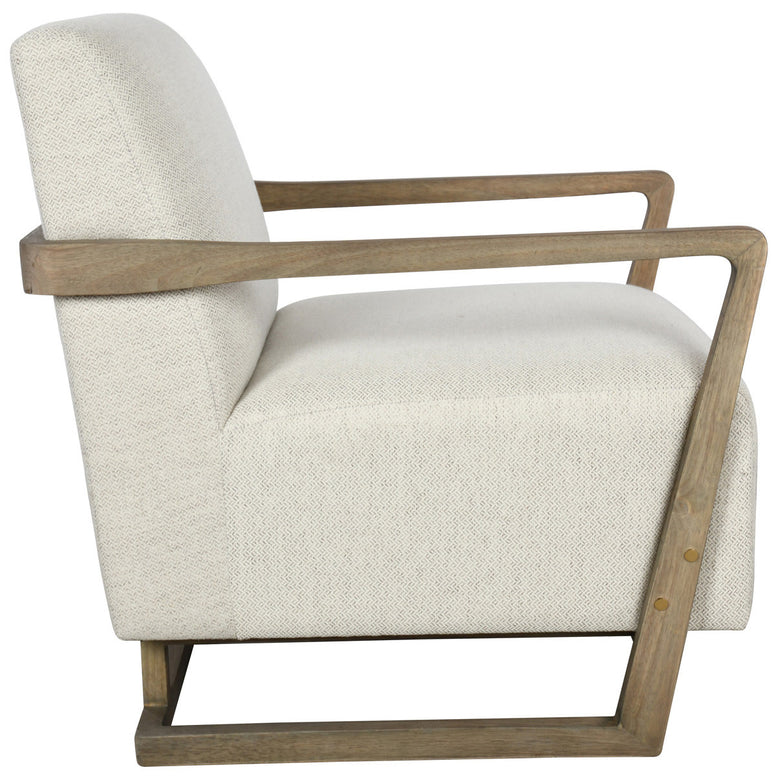 Accent Chair in Neutral Fabric and Wood Frame