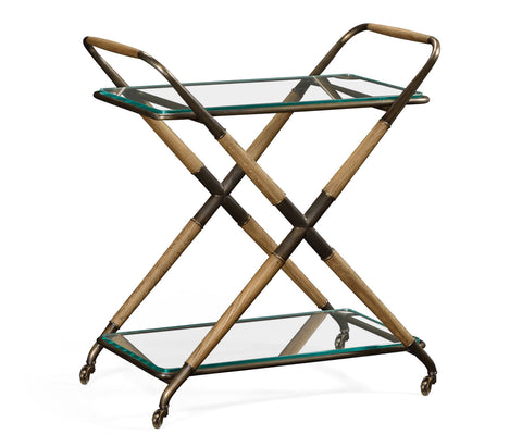 Oak and Metal Bar Cart