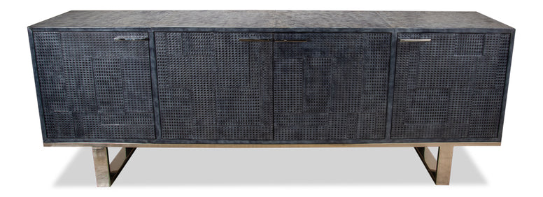Embossed Blue/Grey Leather Sideboard