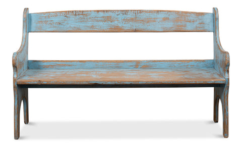 Rustic Blue Pine Bench