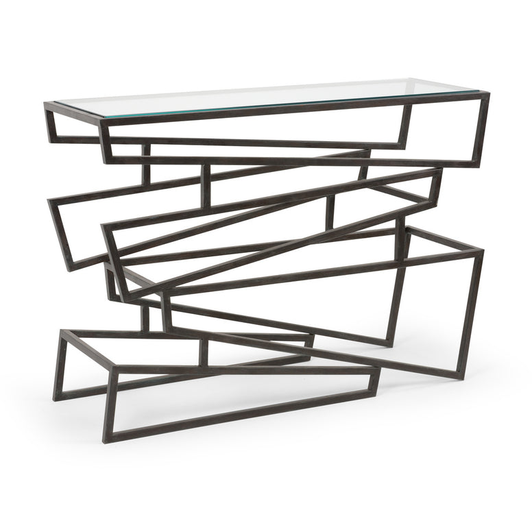 Modern Iron Zig Zag Console Table - Hamptons Furniture, Gifts, Modern & Traditional