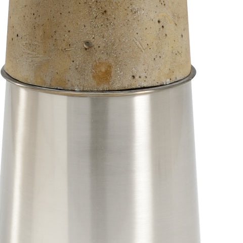 Brushed Nickel and concrete floor lamp