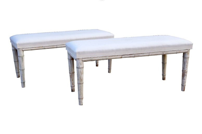 Pair Swedish Upholstered Benches