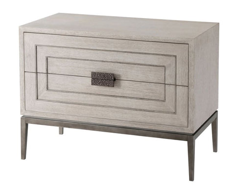 2 Drawer Nightstand with Inlaid Lines