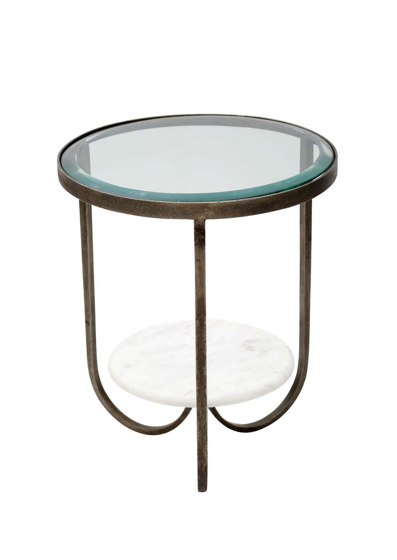 Side Table with IRON, MARBLE AND GLASS