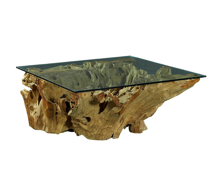 Rootwood Coffee Table with Glass Top