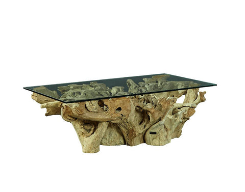 Rootwood Coffee Table with Glass Top - Hamptons Furniture, Gifts, Modern & Traditional