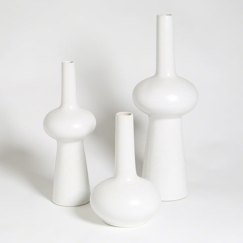 Set of three Matt White vases