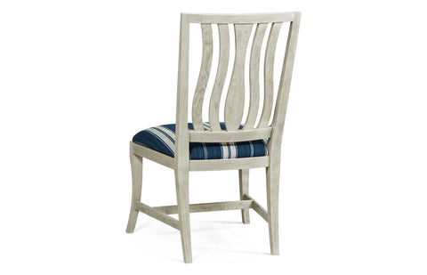Grey Oak Dining Chair with Blue Striped Seat