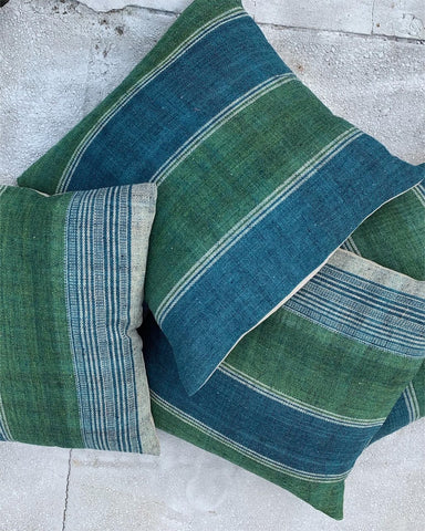 Green and Indigo Woven Pillows - Hamptons Furniture, Gifts, Modern & Traditional