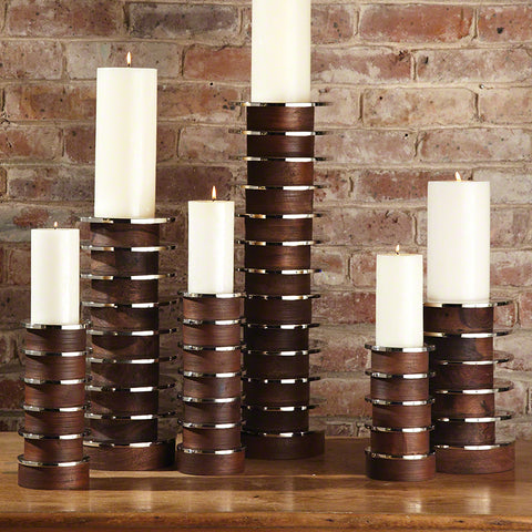 Stacked metal and wood Candle holders