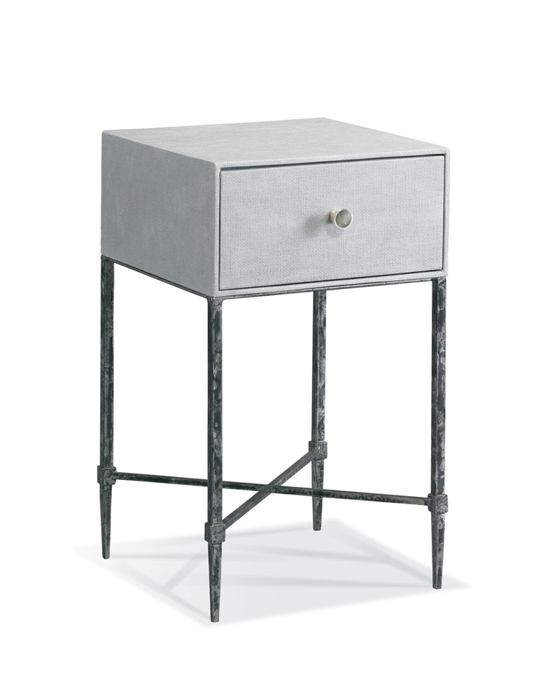 pale grey single drawer nightstand on iron legs, small space piece
