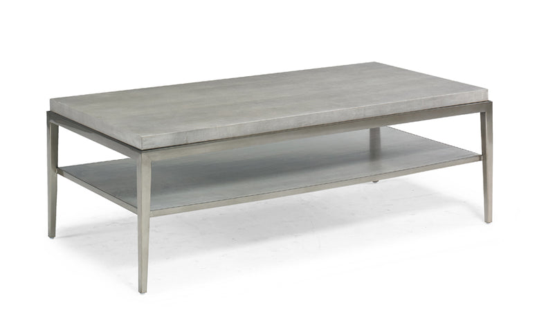 Simple modern cocktail table with tapered metal legs