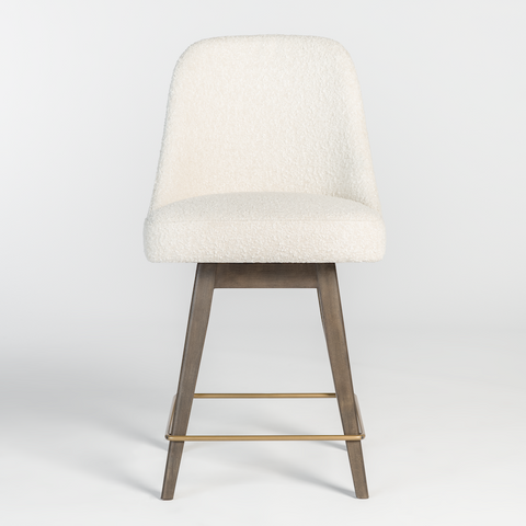 Faux Sherpa Swivel Counter Stool