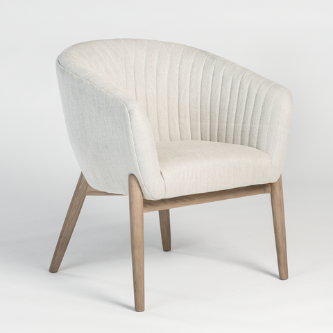 Upholstered Armchair with Channeled Back