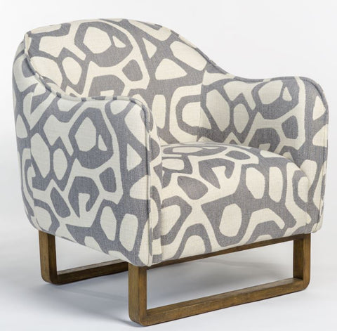 Graphic Armchair with Oak Frame