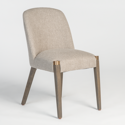 Simple Upholstered Dining Chair with Brass accents