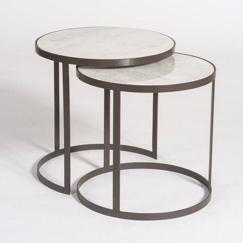 Set of Circular Marble Top Nesting Tables