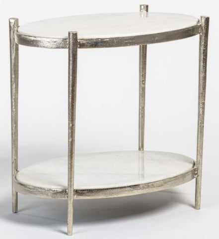 Oval Marble Top End Table with Antique Nickel