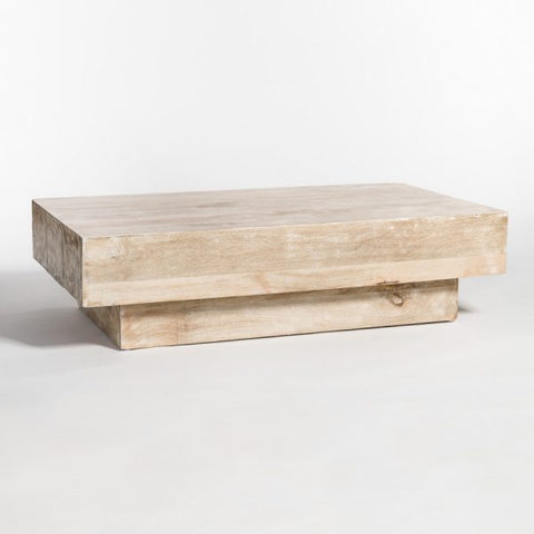 Coffee Table in Bleached white wash Finish