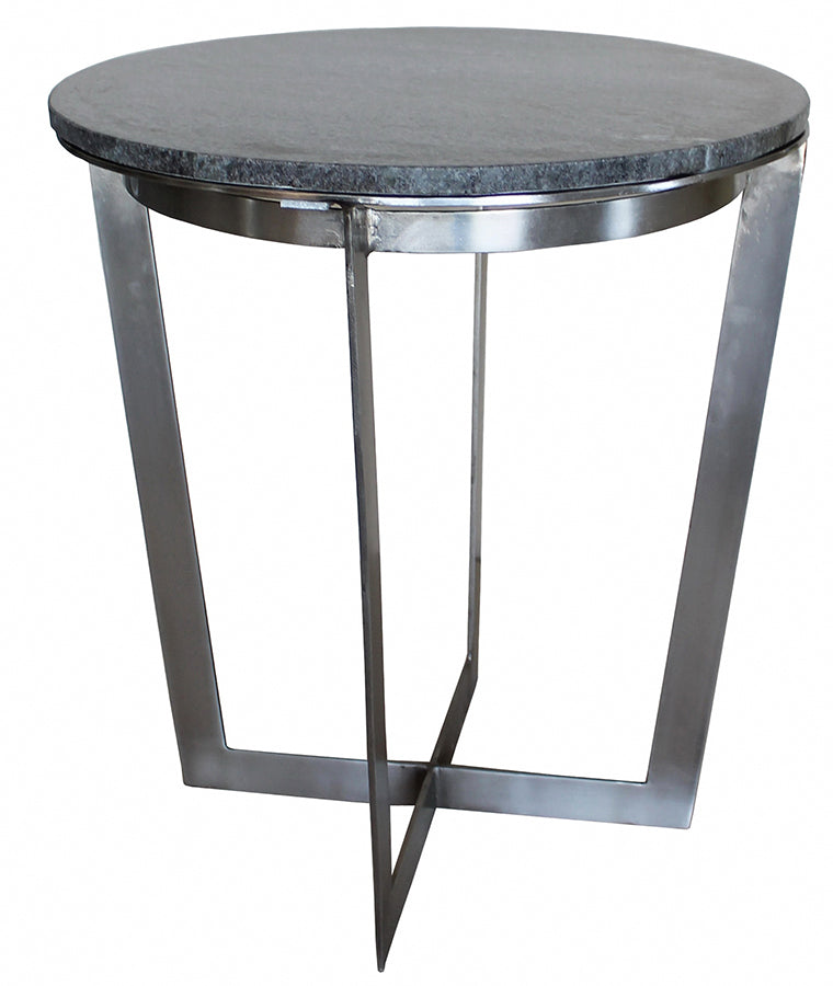 grey marble top side table with raw steel  U shaped leg frame
