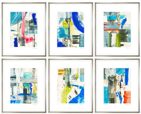 Abstract Paintings with Silver Frame