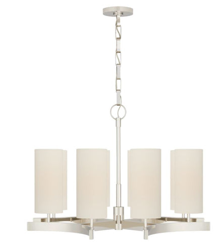 Aimee Medium Chandelier in Polished Nickel with Linen Shades