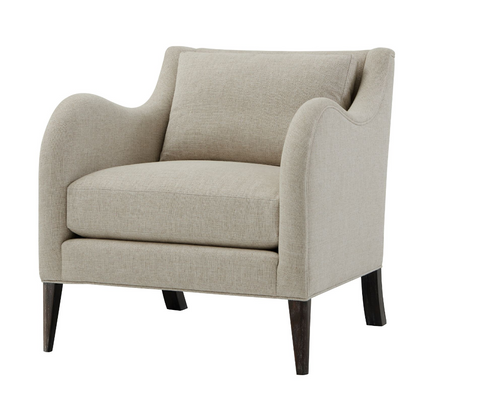 Large Upholstered Club Chair in Linen