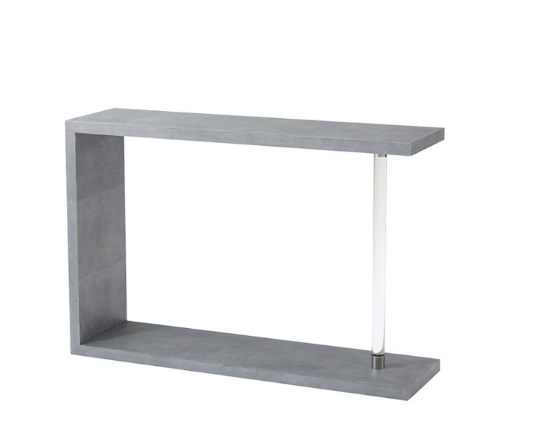 Shagreen Embossed Leather Wrapped Console Table with Glass Support