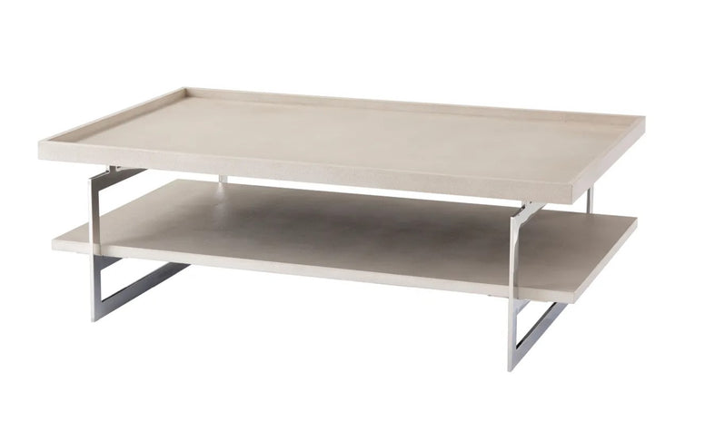 Embossed leather Cocktail Table with Polished Nickel Frame
