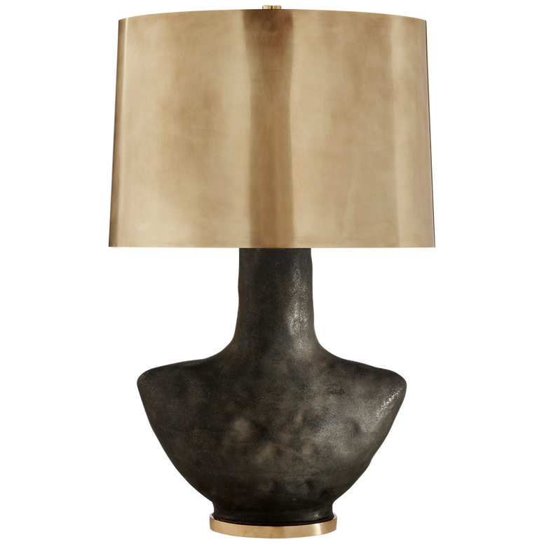 Armato Small Table Lamp with Oval Antique-Burnished Brass Shade