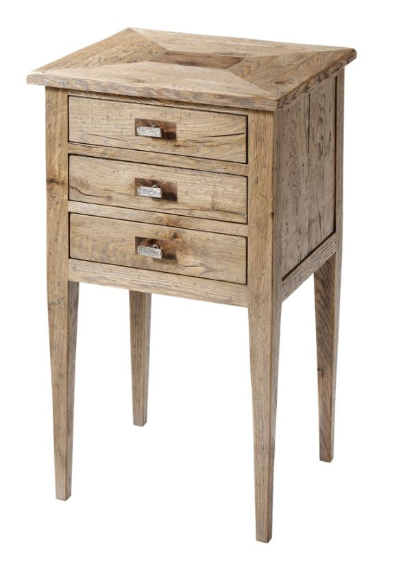 3 Drawer Oak Nightstand with Square Tapering Legs