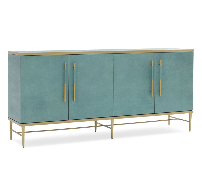 Turquoise Faux Leather Console Table