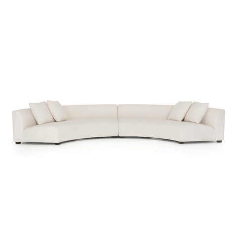 Curved Sectional in Ivory or Grey