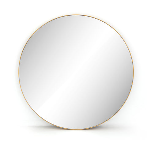 Large Round Brass Edge Mirror