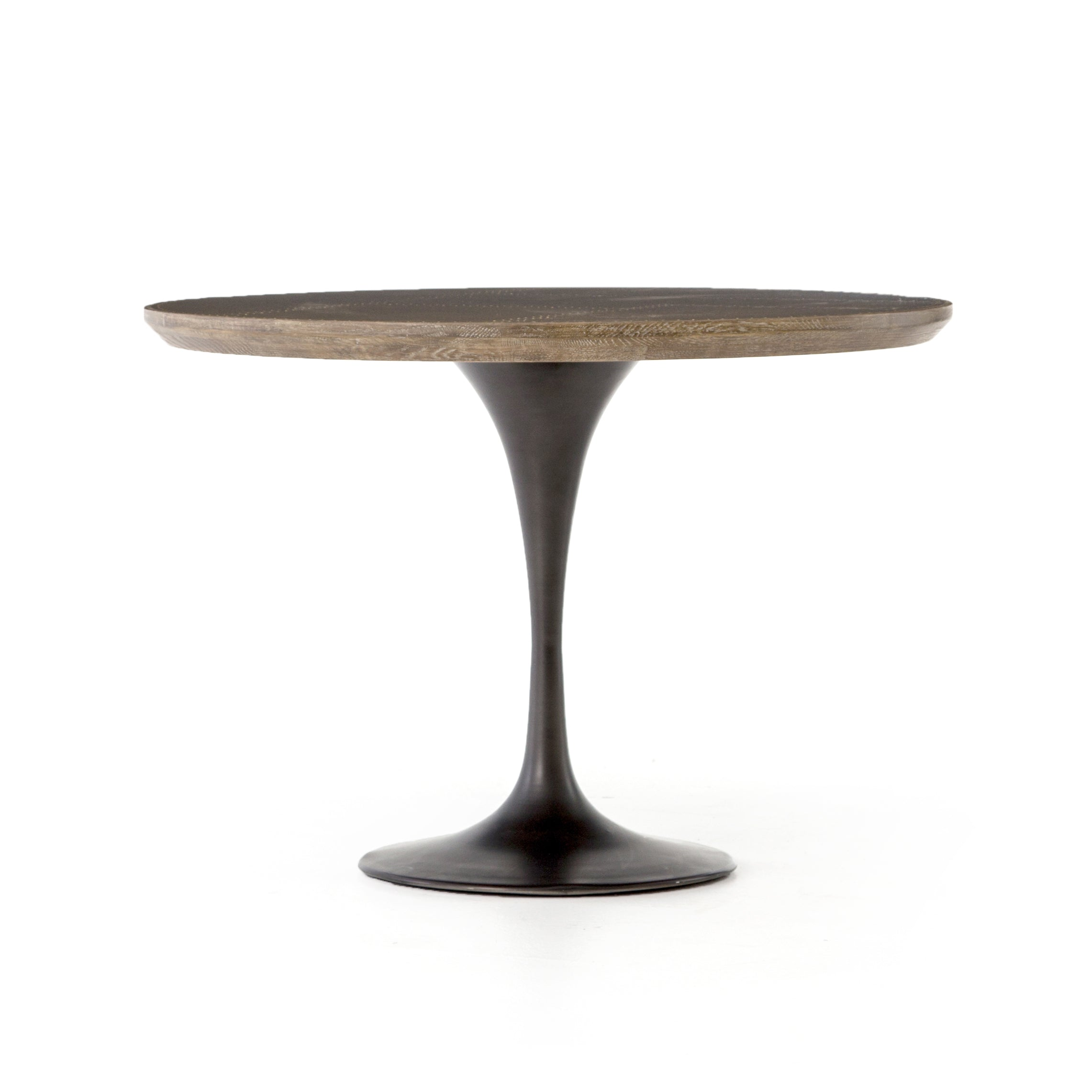 Genial Pedestal Table With Cast Iron Base, Oak Top With Brass Patchwork