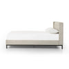 Simple Low Upholstered Bed in Neutral Fabric