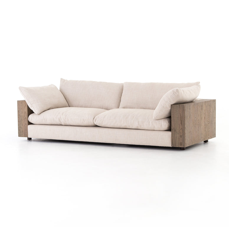 "98"" Oak and Linen Sofa - Hamptons Furniture, Gifts, Modern & Traditional"