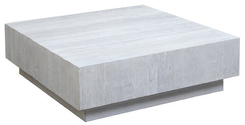 Square Coffee Table with Heavy white washed finish