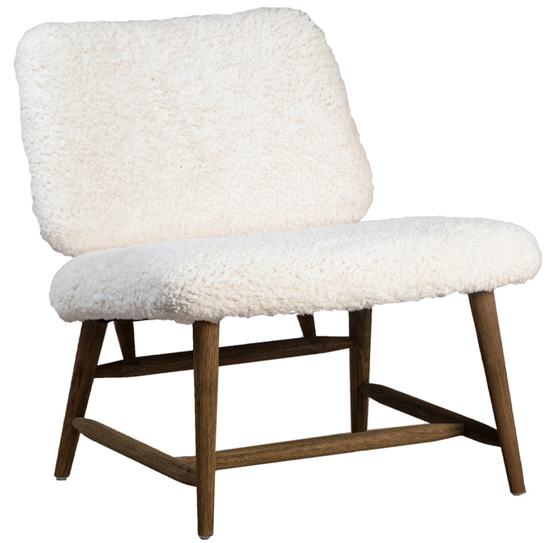 Armless chair in faux sherpa