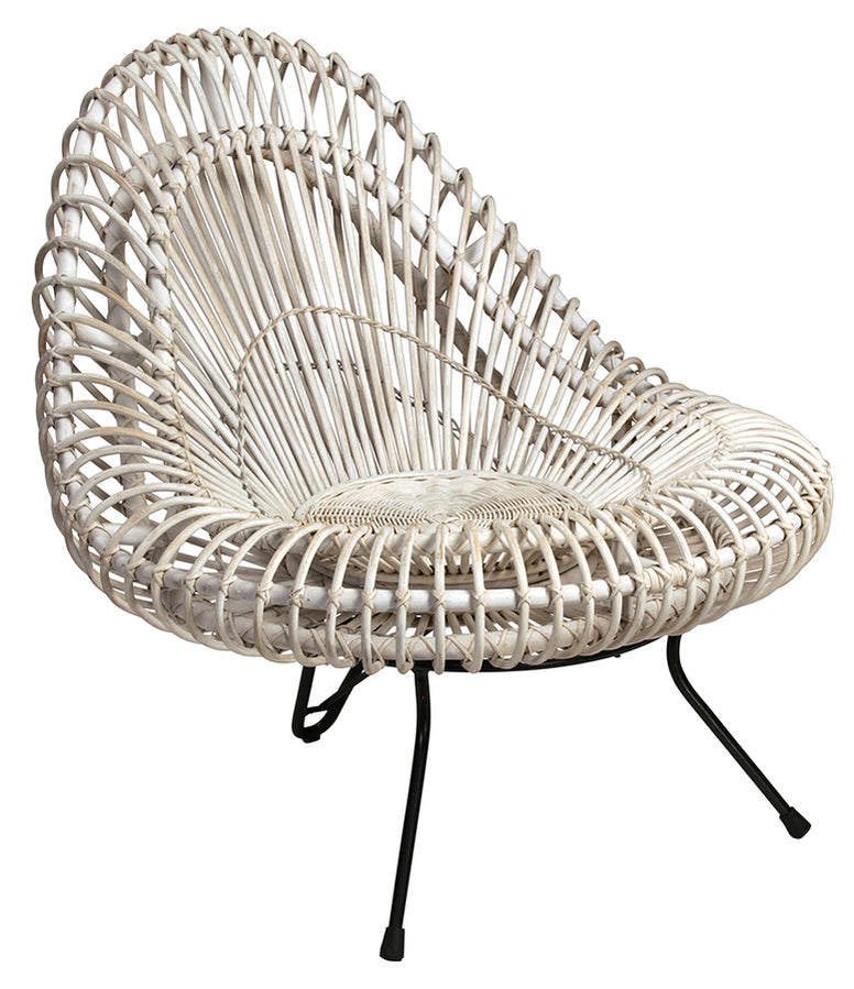 Unusual Rattan Chair, with iron legs