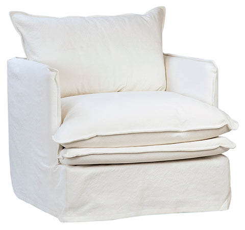 white slip covered armchair with double pillow seat