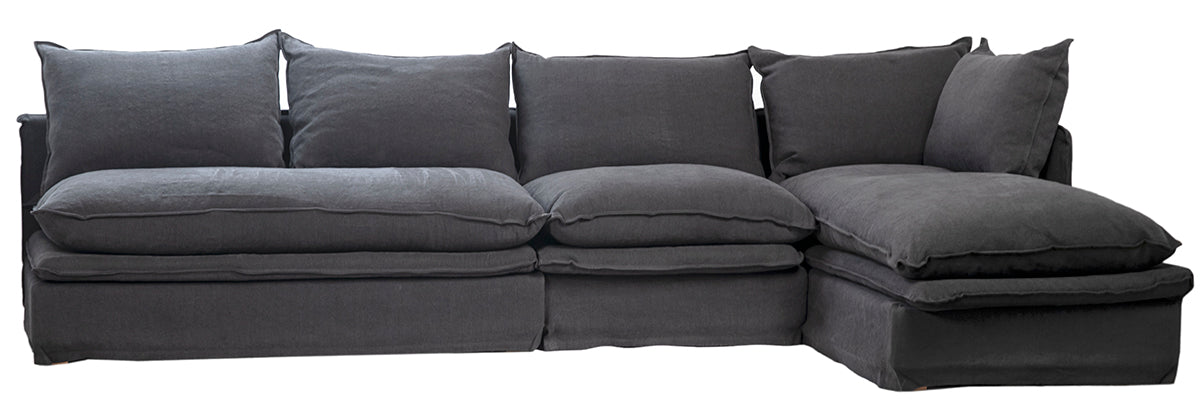 Prime Sectional Sofa In Dark Grey With Double Pillow Seat Cushions Machost Co Dining Chair Design Ideas Machostcouk