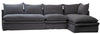 Sectional Sofa in dark grey with double pillow seat cushions