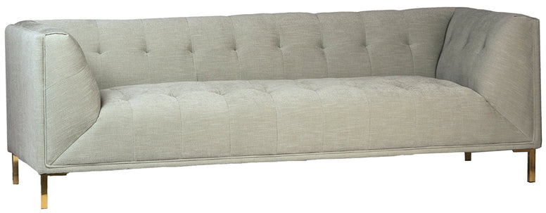 Blind Tufted Modern Sofa in very pale seafoam green poly upholstery on hardwood frame with stainless legs in gold finish.