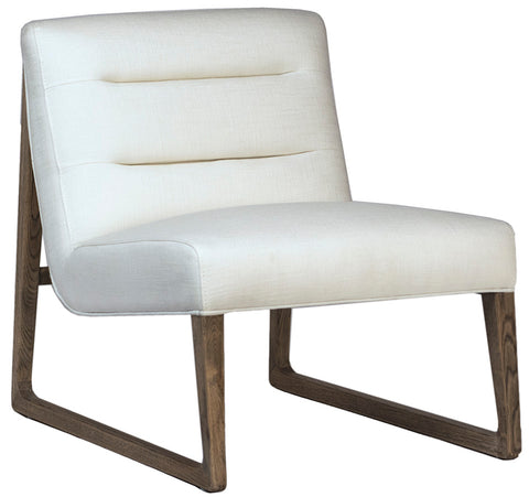 Occasional chair in linen, with wood frame