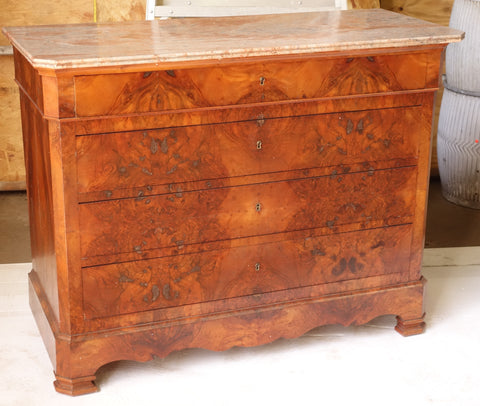 Antique French Dresser with pink marble top